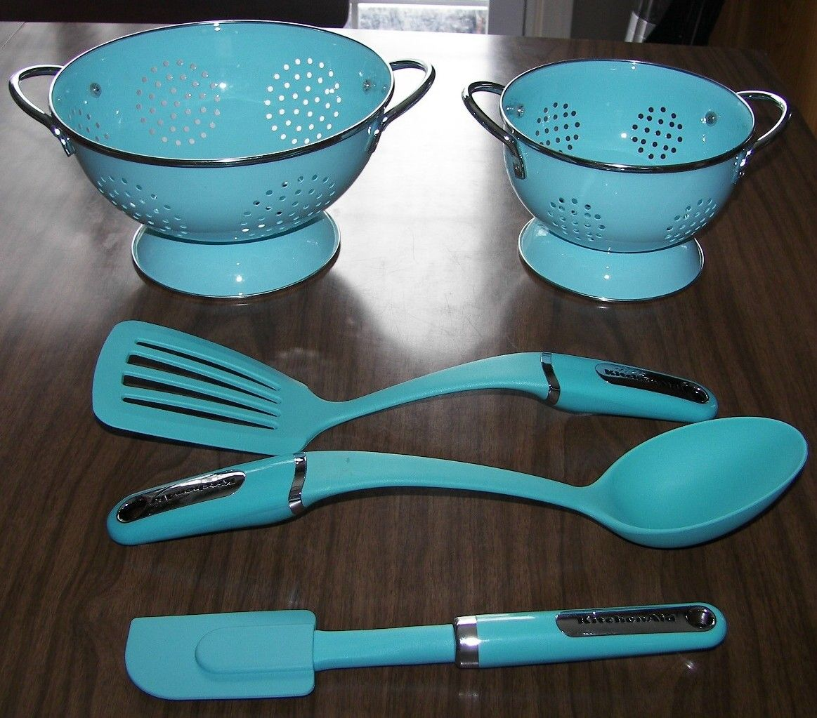 Turquoise colanders, spatulas and spoon | BLUE-Rustique Romance ...