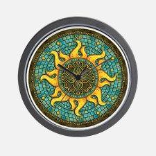 Mosaic Sun Wall Clock for