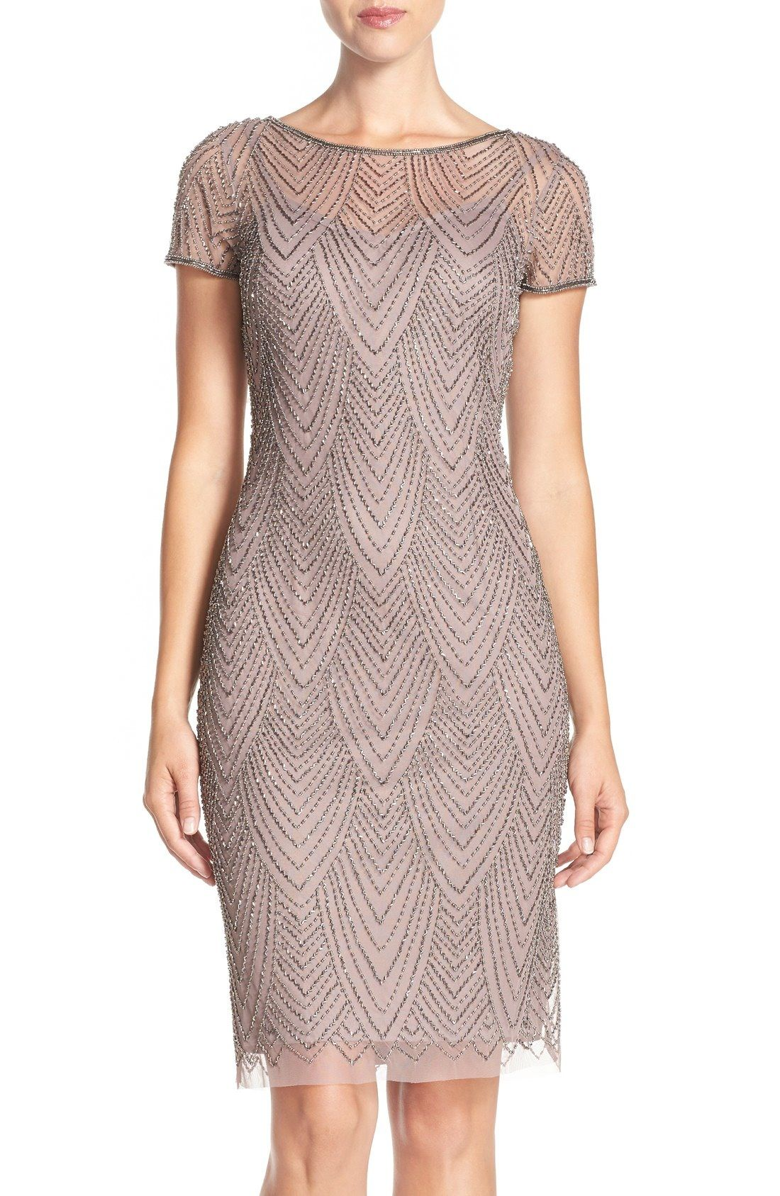 Sheath dresses for wedding guest  Adrianna Papell Beaded Mesh Sheath Dress available at Nordstrom