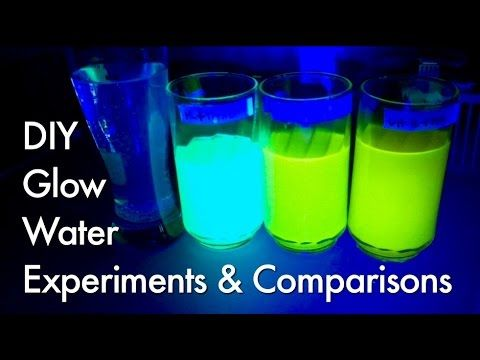 Part 1 Experiments With Fluorescence Glow Water Polymer Balls Rubber Glow Water Cool Science Projects Water Experiments