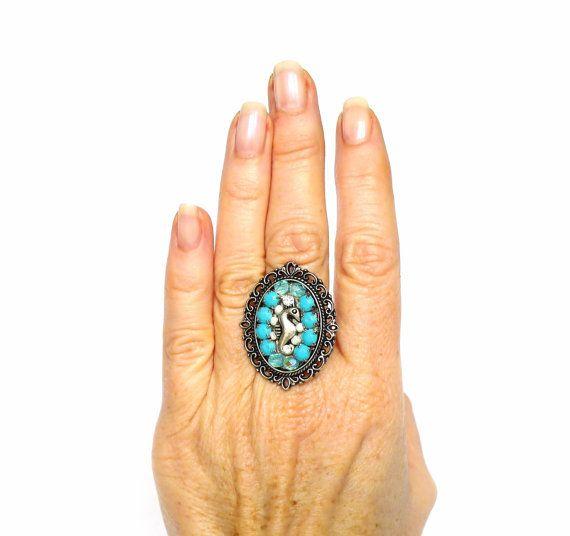 Ring türkis hellblau silber Ring mit Seepferdchen von LonasART, €19.90