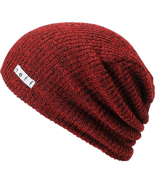 6da775b597b Neff Daily Slouch beanie for cool nights and fun times in the Heather Red  and Black colorway.