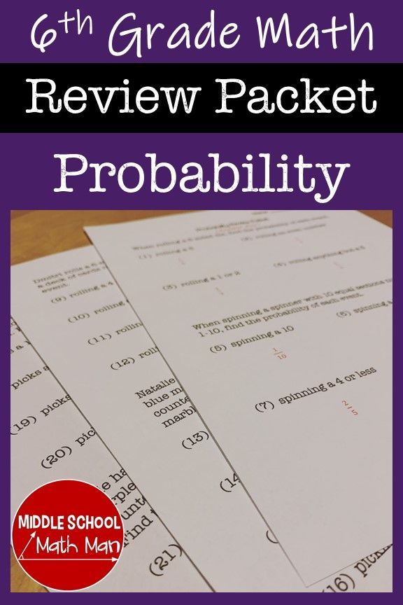 6th Grade Math Probability Review Packet | Sixth grade ...