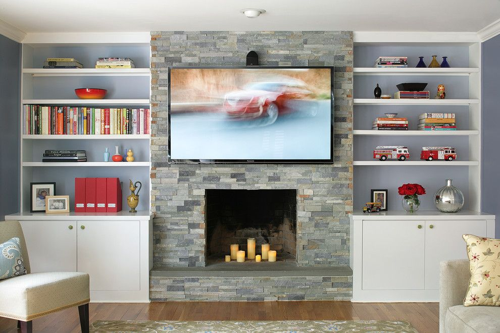 Fireplace Bookcase Ideas Family Room Contemporary With Wood Flooring Wall Mount Tv