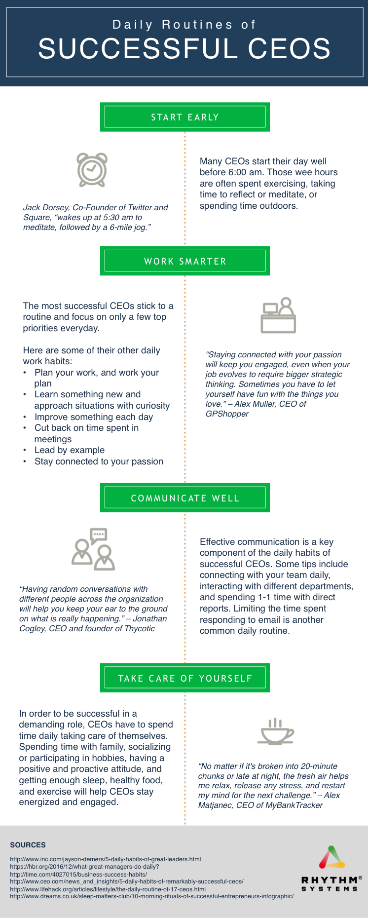 Daily Routines Of Successful Ceos Infographic Daily Routine