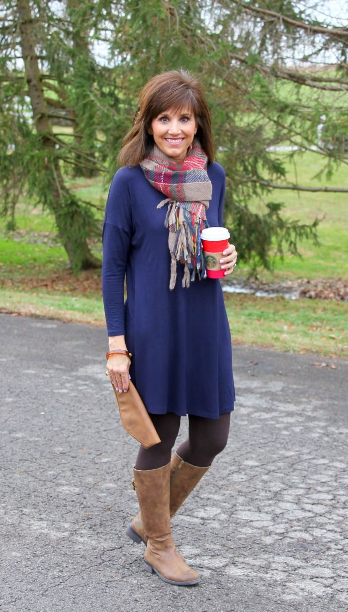 e833fc22eb navy blue long sleeved piko dress + tartan blanket scarf + boots