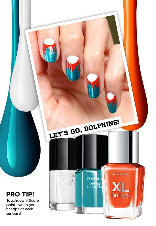 This Miami Dolphins Nail Art Look Is A Touchdown To Get This