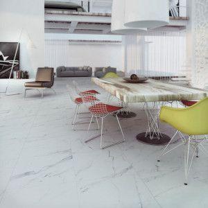 Carrelage sol blanc aspect marbre carrare grey mat for Carrelage blanc mat