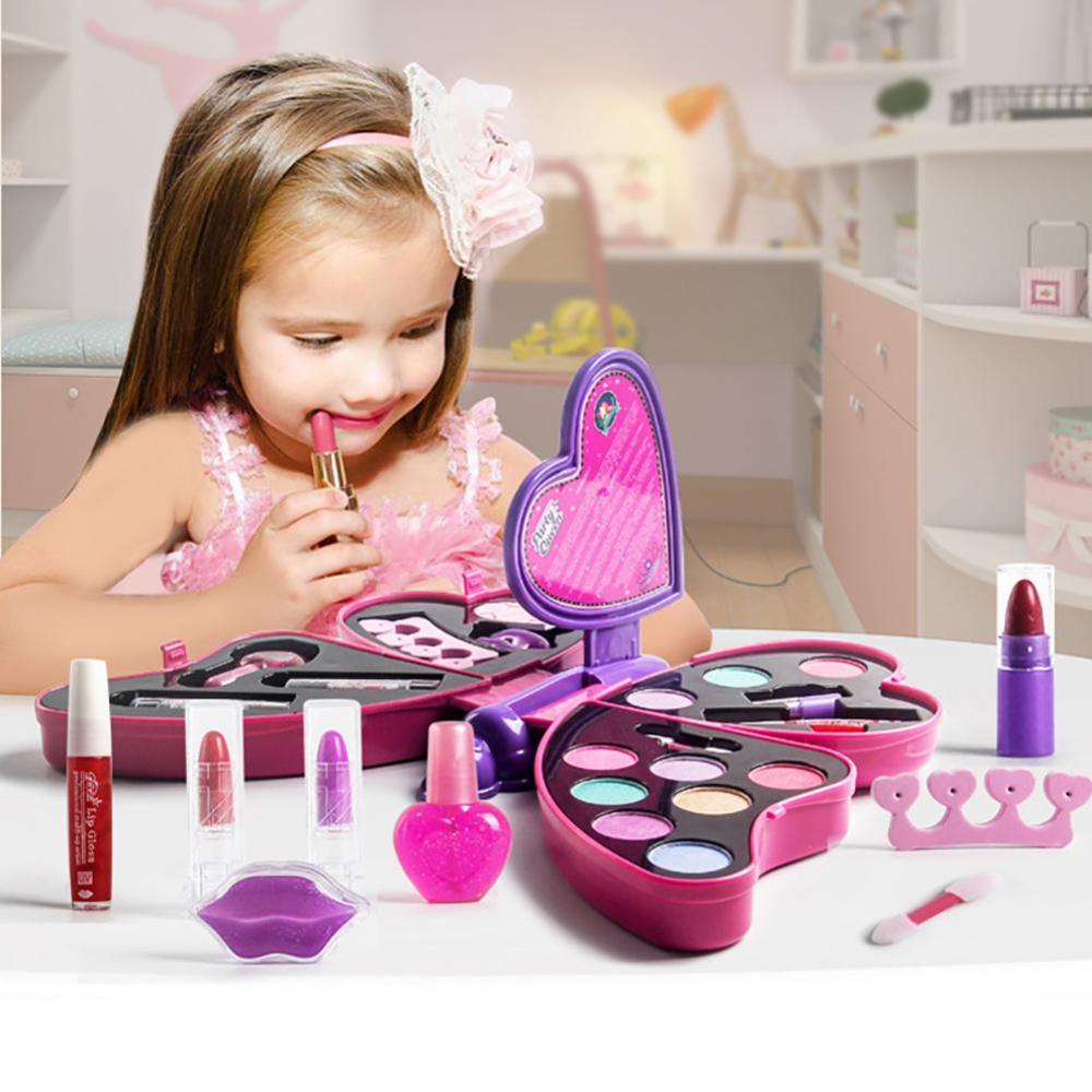 Juego De Maquillaje Para Niñas Juego De Maquillaje Para Niños Juego De Maquillaje Con Forma De Mariposa De Princesa Kids Makeup Makeup Toys Childrens Makeup