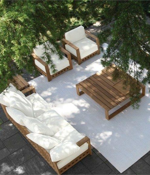 garten landschaft terrasse graue bodenfliesen teakholz möbel - loungemobel garten grau