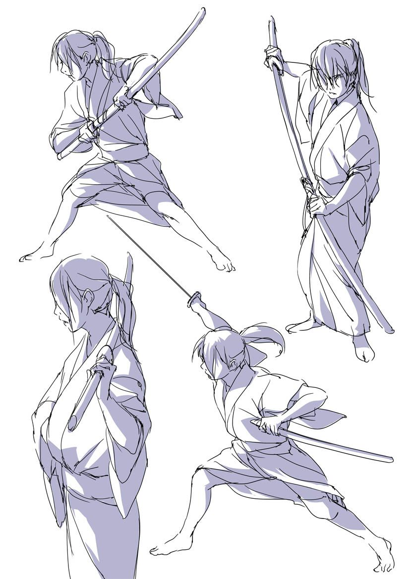 It's just a photo of Tactueux Sword Poses Drawing