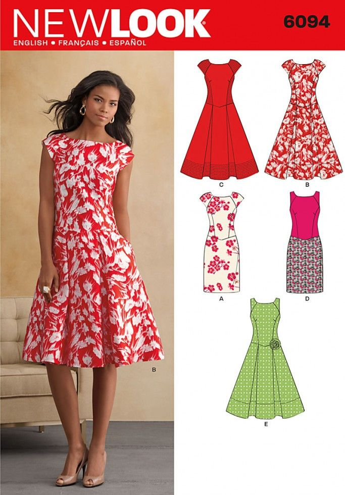 New Look Ladies Sewing Pattern 6094 Fitted, Flared & Pleated Dresses ...