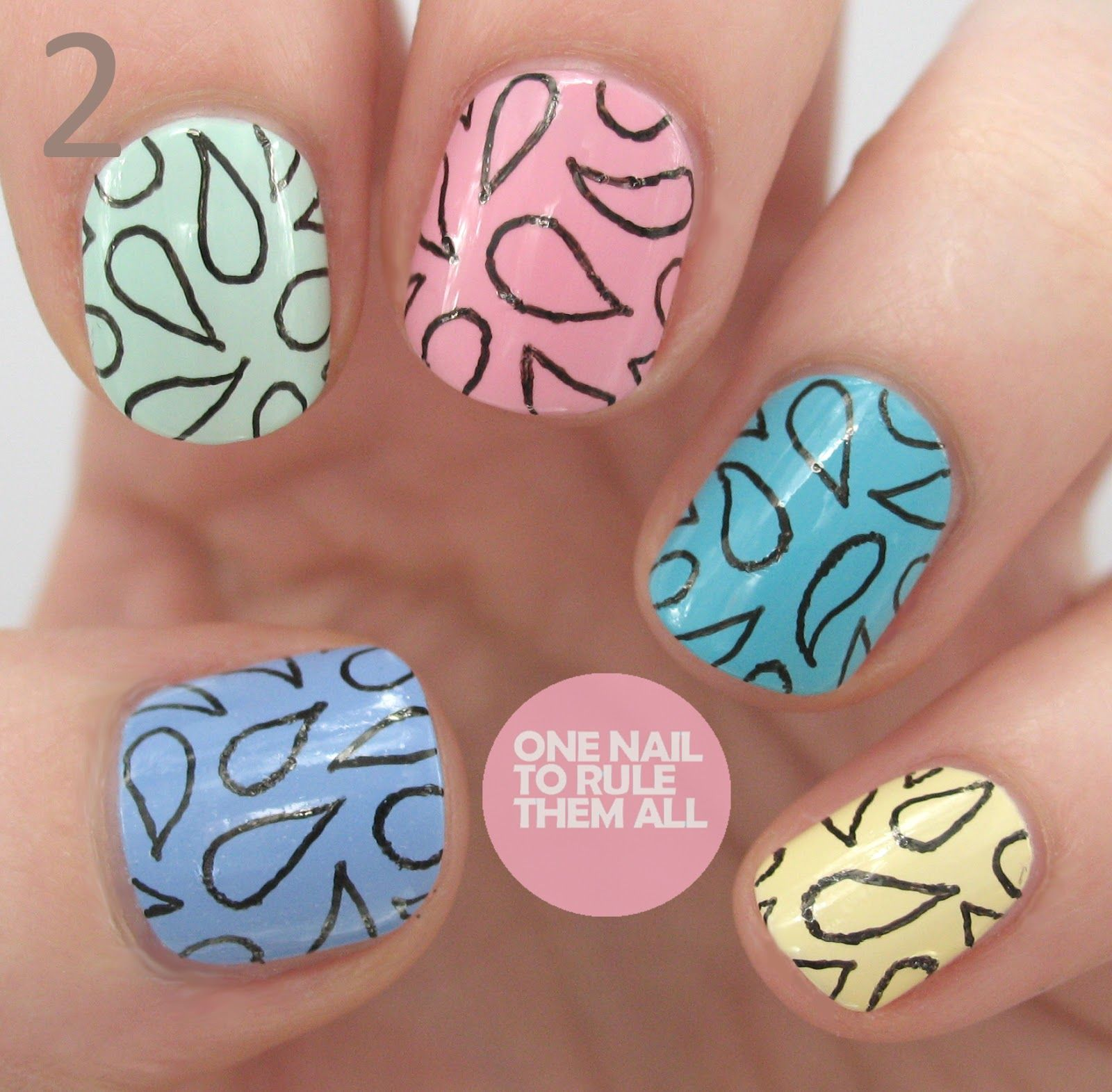 One Nail To Rule Them All Paisley Print Tutorial Just Use A Gel