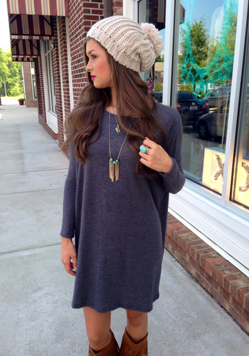 T shirt dress, knit slouchy Pom Pom beanie, turquoise and gold jewelry, dark lipstick, moccasin boots!