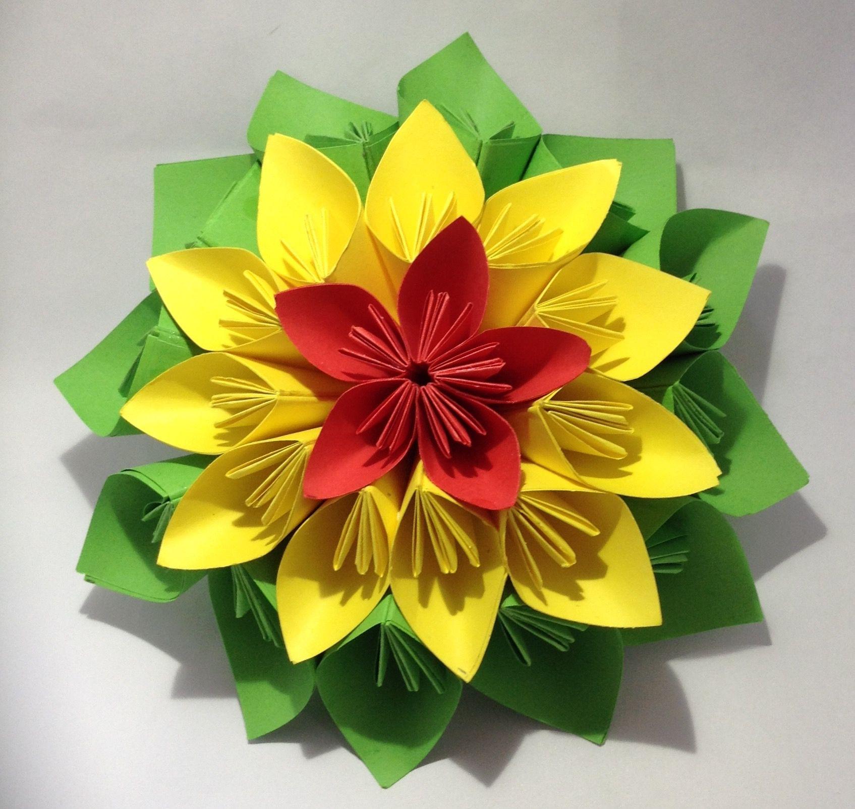 Origami Flower Origami Handcrafted Paper Papercraft Flowers Fleurs En Papier Fleurs Papier