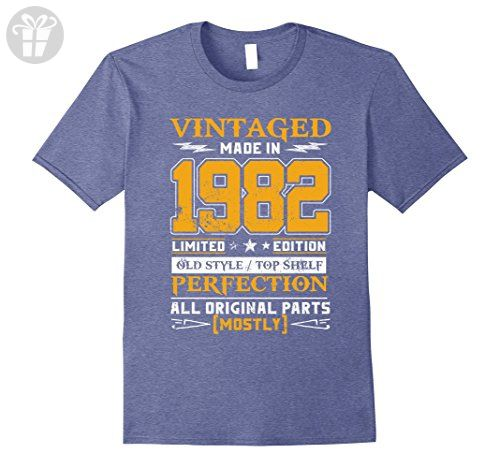Mens Vintage Born in 1982 35th Birthday T-Shirt 35 Years Old Small Heather Blue - Birthday shirts (*Amazon Partner-Link)