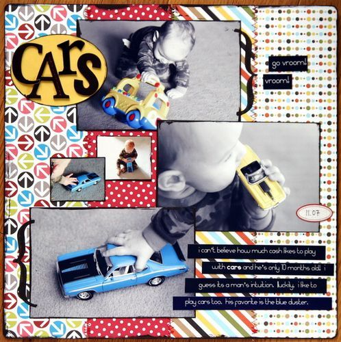 Love this page idea for my son and his love of cars. The b/w with pop of color on the car...<3