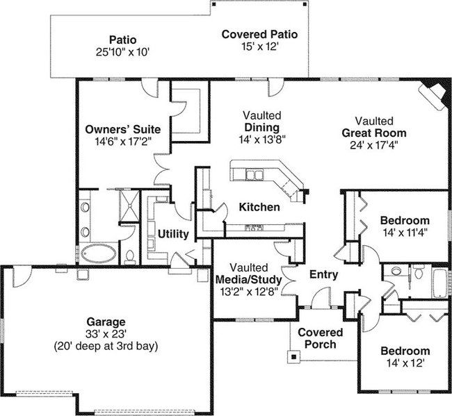 Ranch house plans with open floor plan craftsman for Open floor plan craftsman