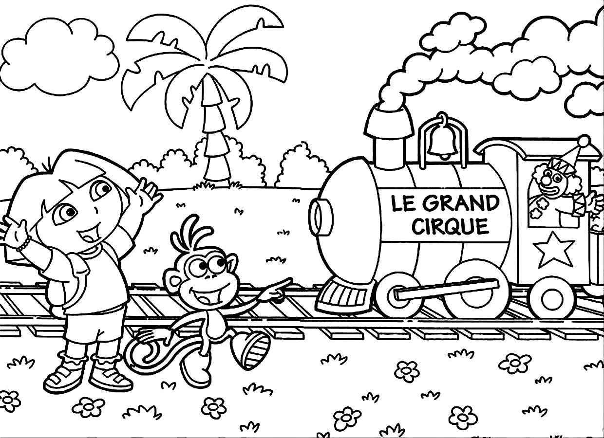 dora the explorers printable coloring pages - Free Dora The Explorer Coloring Pages