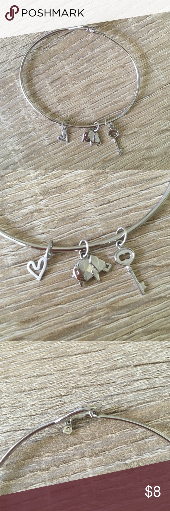 Silver Renewal Bracelet Cute silver bracelet with charms- open heart, elephant, and key, Renewal Jewelry Bracelets