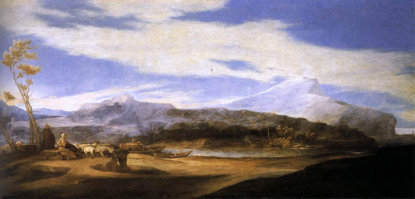 LANDSCAPE WITH SHEPHERDS. 1639. oil on canvas. 128 × 269 cm. Palacio de Monterrey. Salamanca.