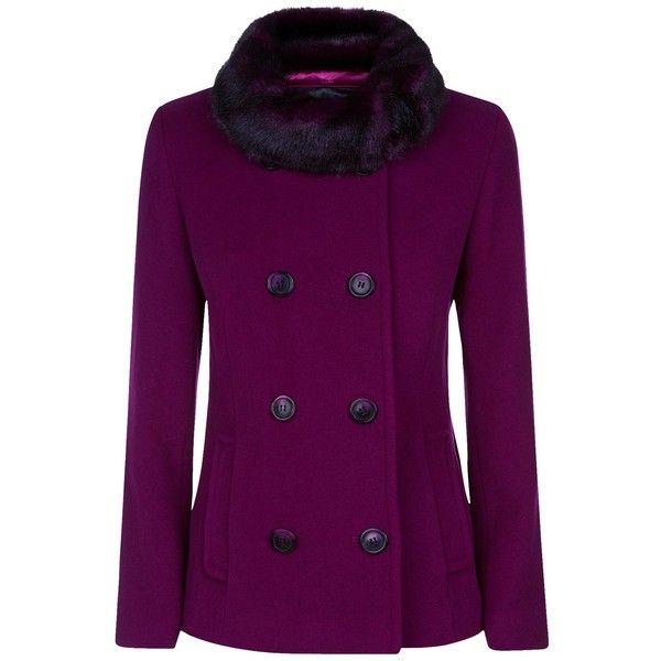 Precis Petite Double Breasted Faux Fur Trim Coat, Dark Pink (860 ...