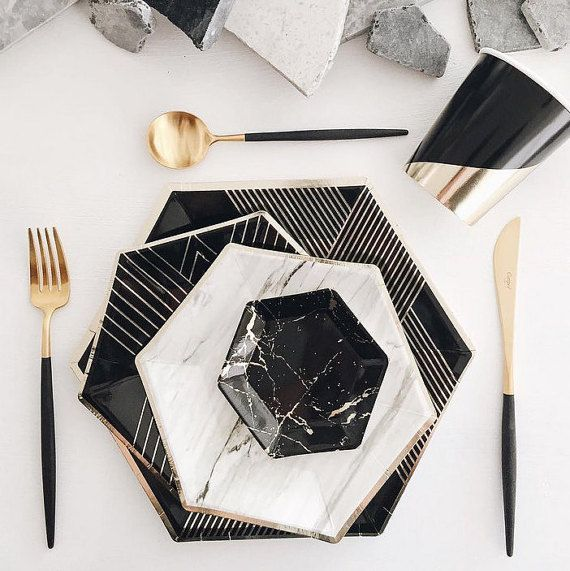 Party In A Box Kit Black And Gold Gold And Black Party Supplies