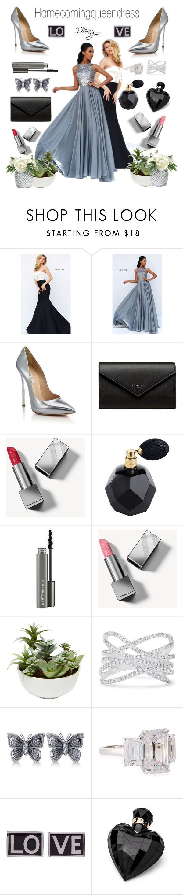 """Homecomingqueendress"" by sneky ❤ liked on Polyvore featuring Sherri Hill, Casadei, Balenciaga, Burberry, MAC Cosmetics, Effy Jewelry, Allurez, Fantasia by DeSerio, Givenchy and Lipsy"