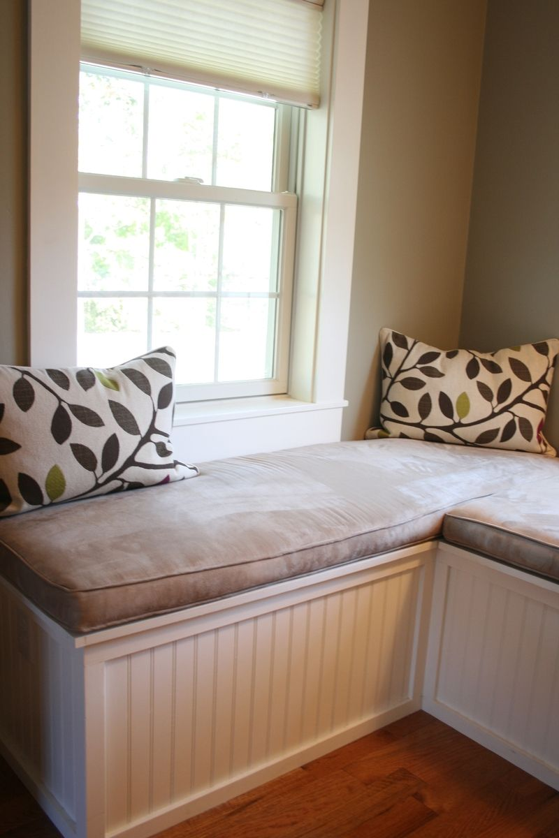 Custom Window Seat And Upholstered Cushions For Master Bedroom