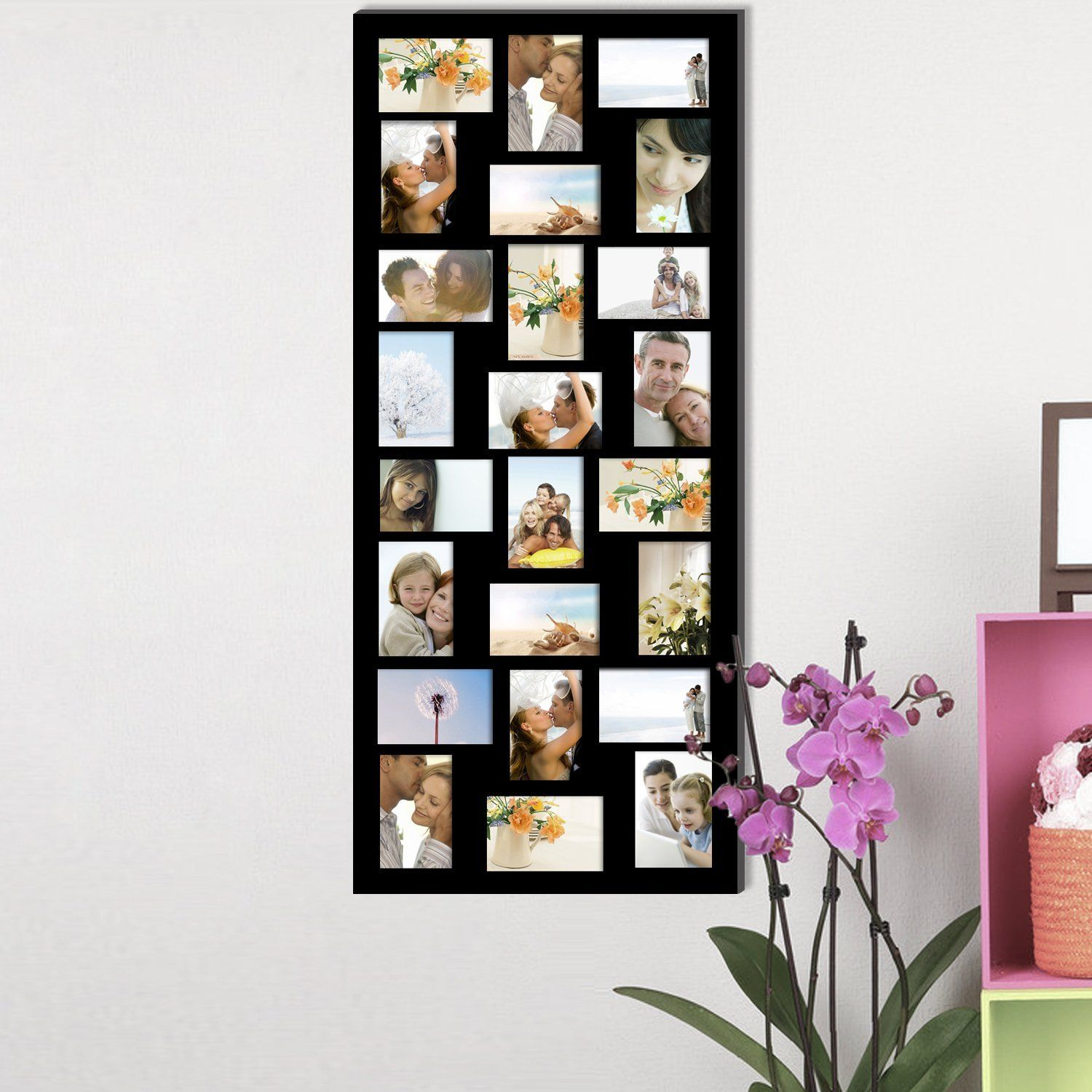 Amazon Com Adeco Pf9107 24 Openings 4x6 6x4 Collage Picture Frame Wood Photo Collage Decoration Black For Wa Frame Picture Collage Wood Wall Hanging