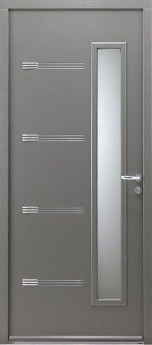 porte acier porte entree bel 39 m contemporaine poignee rosace couleur argent mi vitree. Black Bedroom Furniture Sets. Home Design Ideas