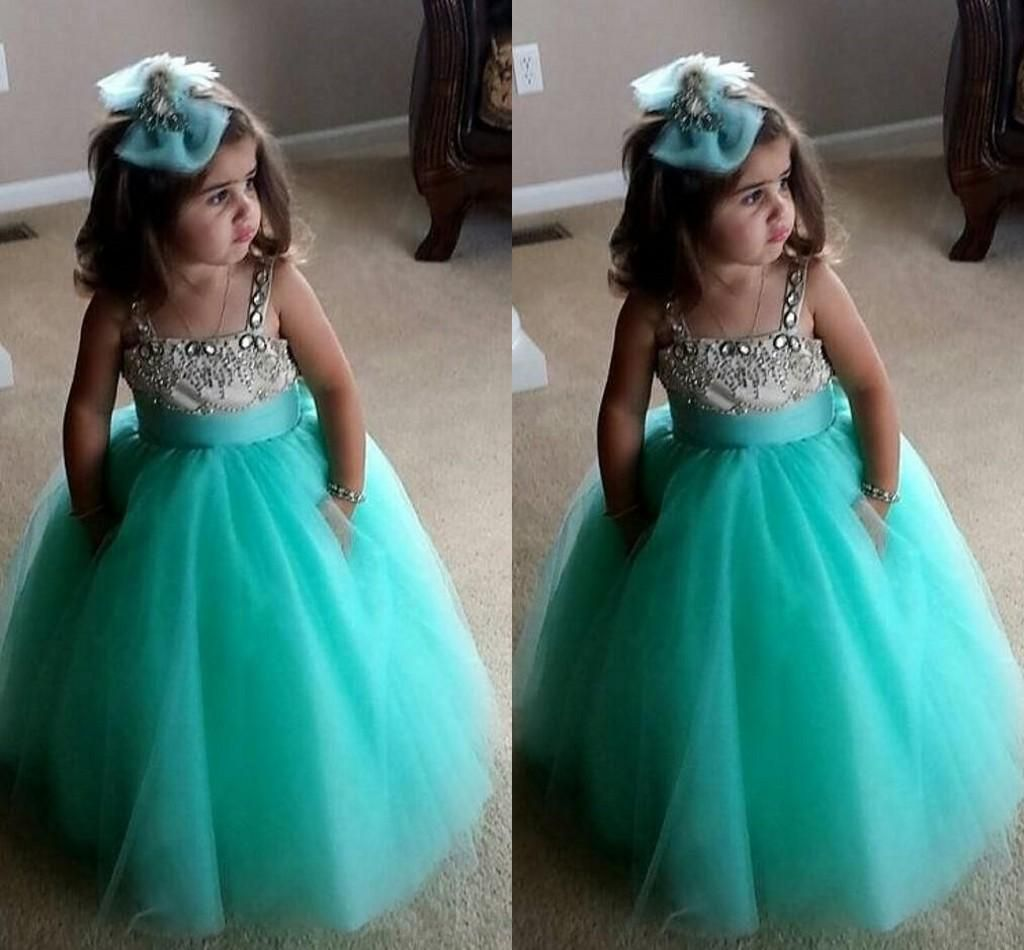 2017 Cute Ball Gown Flower Girls Dresses For Weddings Beaded Neckline Spaghet