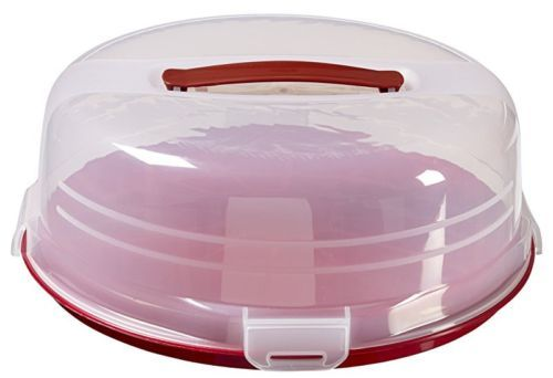 Round Cake Storage Box Plastic Cover Saver Container Tray Lid Red