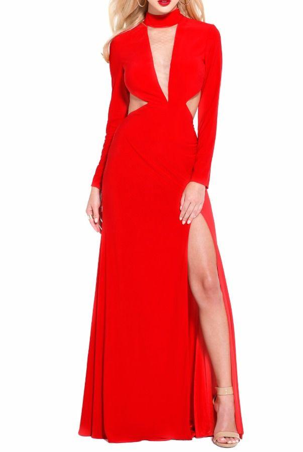 Shail K 3994 Red Cutout Long Sleeve Evening Dress Gown