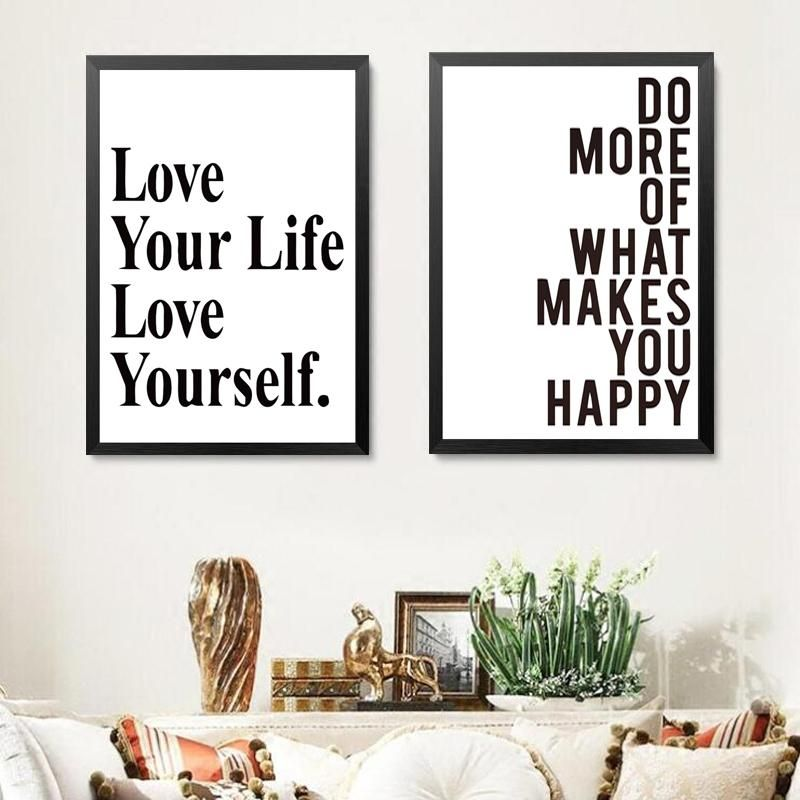 Love life love yourself modern quotes canvas prints poster for room office wall decor spray printings