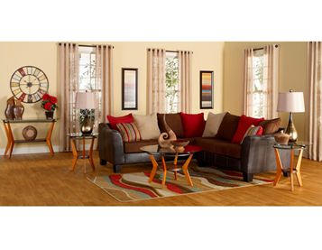 7 Piece Calypso Living Room Collection Includes: Sofa Sectional Loveseat  Cocktail Table End Tables Lamps Rug