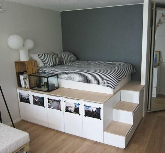 Verhoogd bed met opbergruimte kim 39 s droombed idee n voor het huis pinterest bedrooms - Loft bed met opbergruimte ...