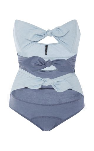 5c1f566ea221f Triple Knotted Denim One Piece Swimsuit by LISA MARIE FERNANDEZ Now  Available on Moda Operandi