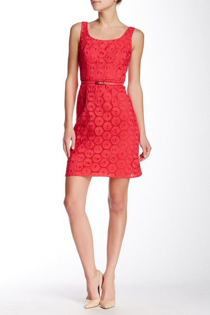 Sleeveless Eyelet Sheath Dress   Red sheath dress ...