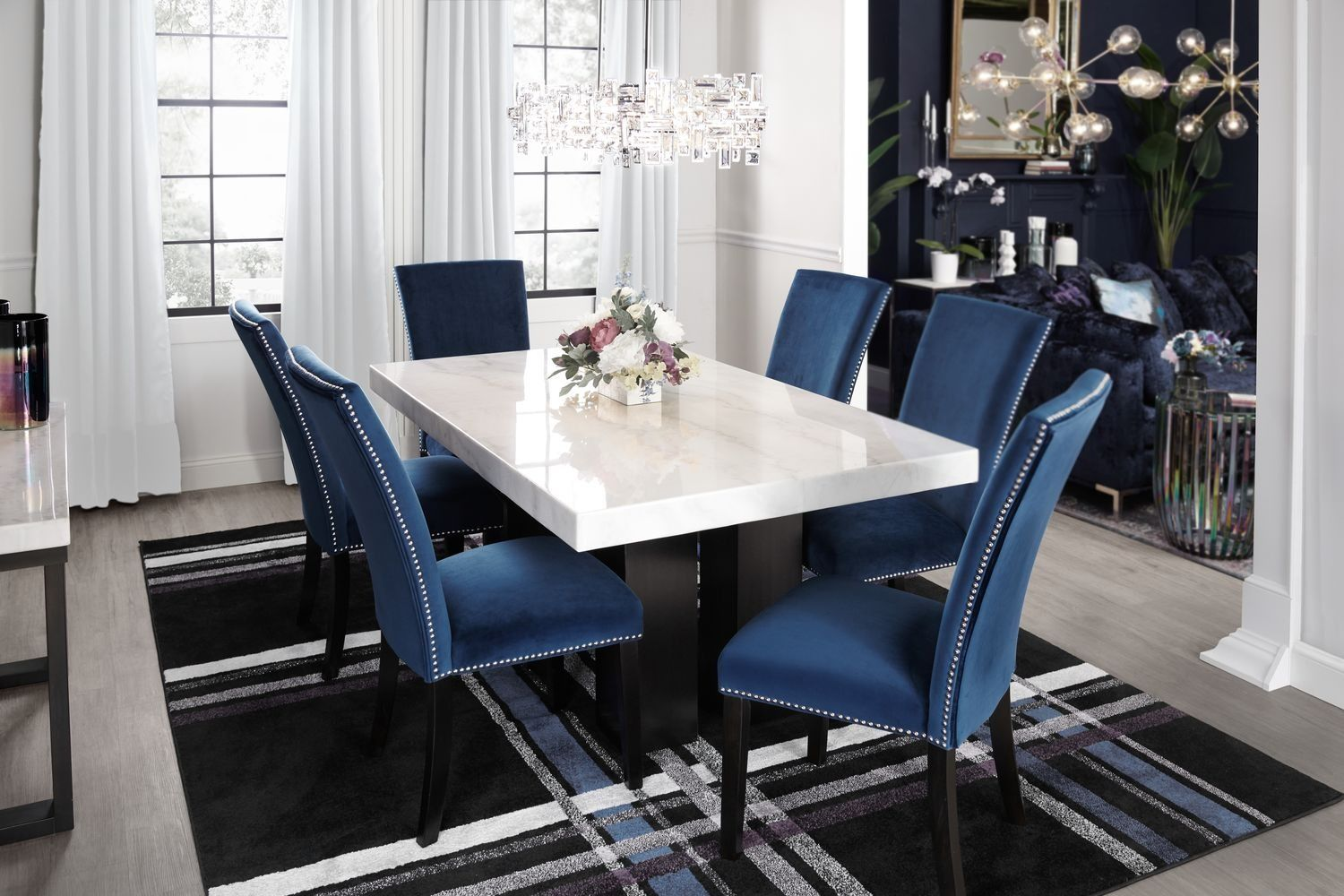 Artemis Marble Dining Table And 6 Upholstered Dining Chairs Blue