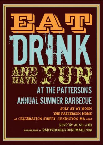 eat drink and have fun custom barbeque invitations bbq invitations