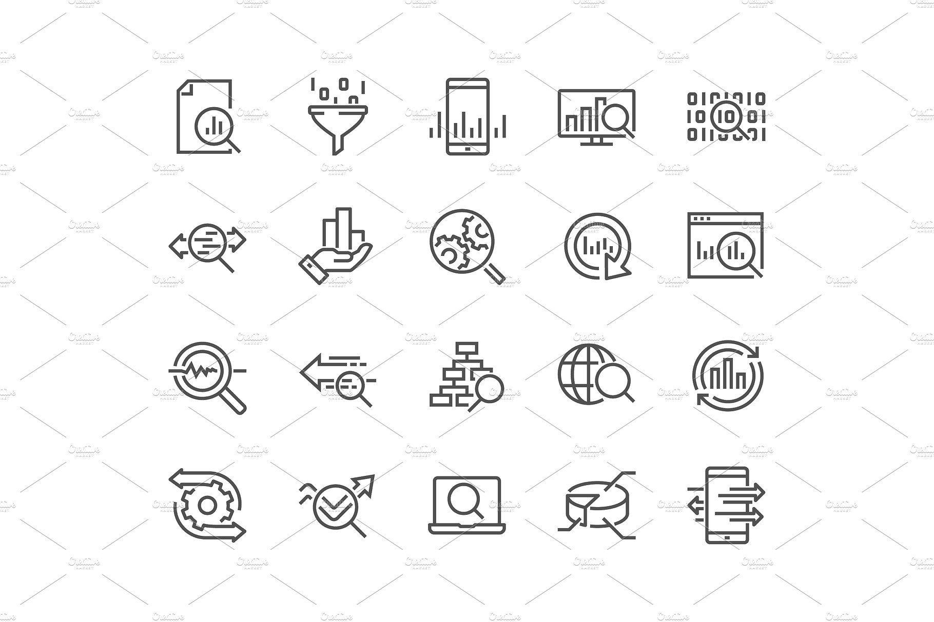 Line Data Analysis Icons Data Analysis Traffic Analysis Data