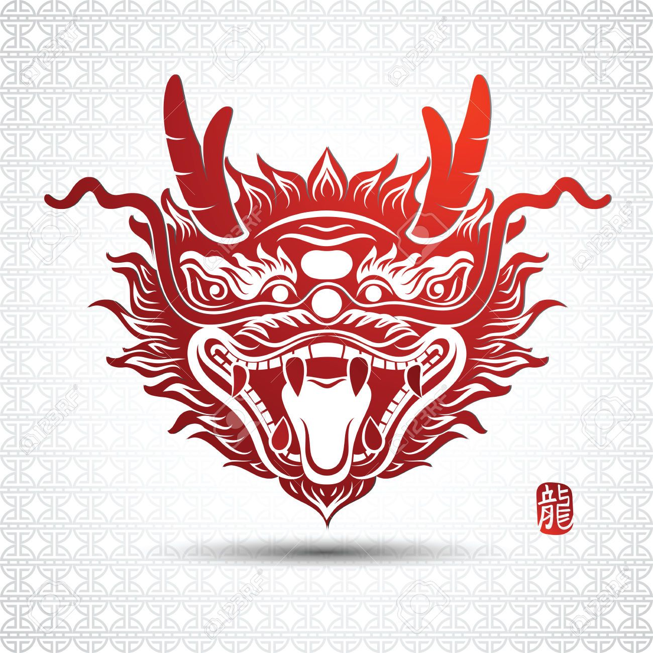 46042945 illustration of traditional head chinese dragon vector