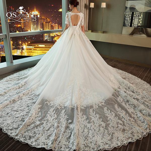 QSYYE 2018 Vintage Lace Wedding Dresses Princess Sweetheart Beaded ...