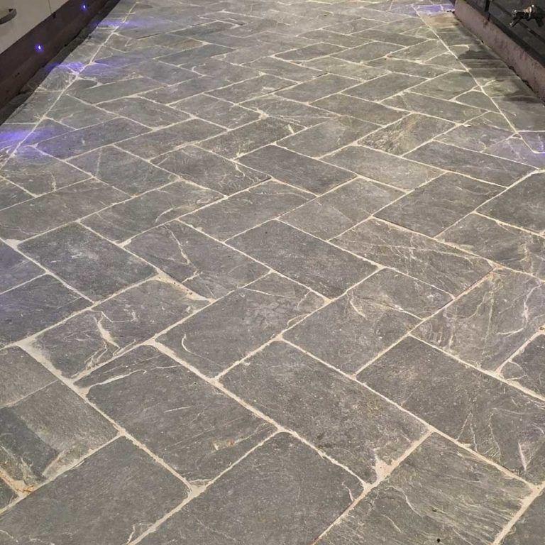 Slate herringbone grey tiles in 2020 Tile floor, Patio