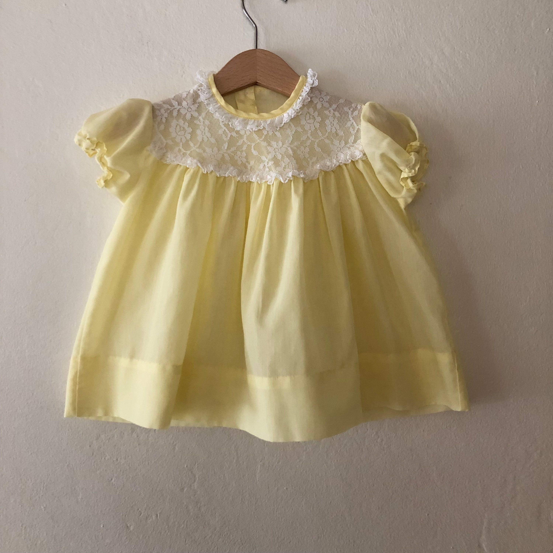 Vintage Baby Dress, Vintage Yellow Baby Dress, Vintage Baby Girls