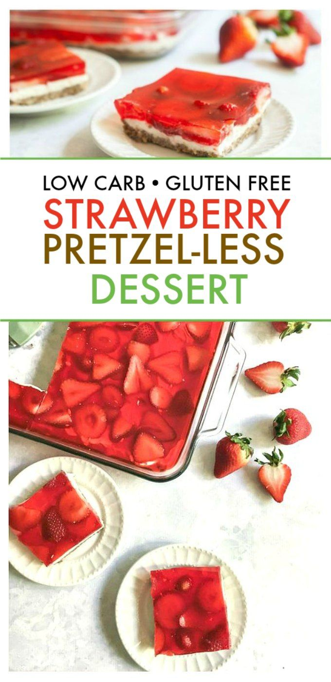 Low Carb Strawberry Pretzel-less Salad #ketodesserts