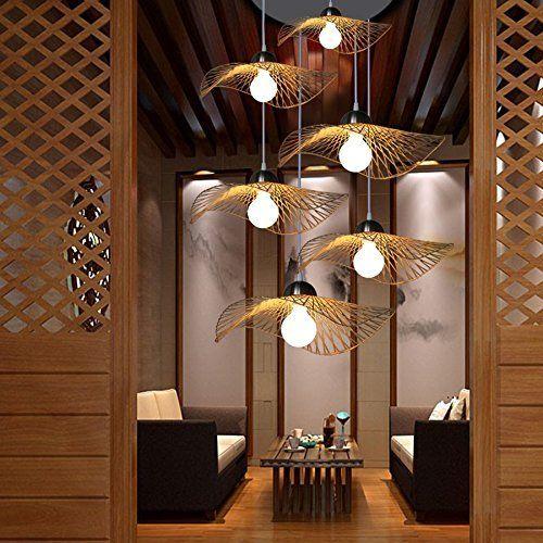 XIXI Lumières pendantes de lustre en bambou, lumière décorative de - lustre pour salle a manger