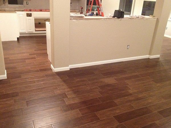 Ceramic tile floor looks like wood ! bath by tracey mankowski