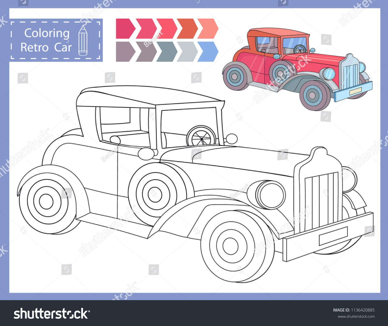 Coloring Worksheets With Drawn Of Retro Car Children